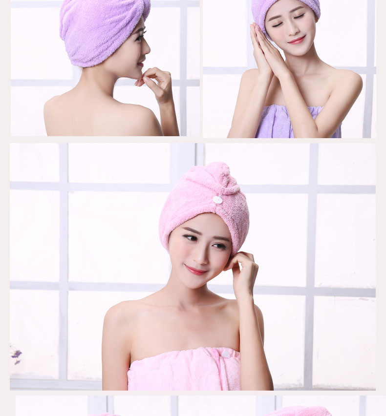 Microfiber Quick Drying Turban Super Absorbent Women Hair Wrap with Button Thicken Head Wrap Fast drying hair towel
