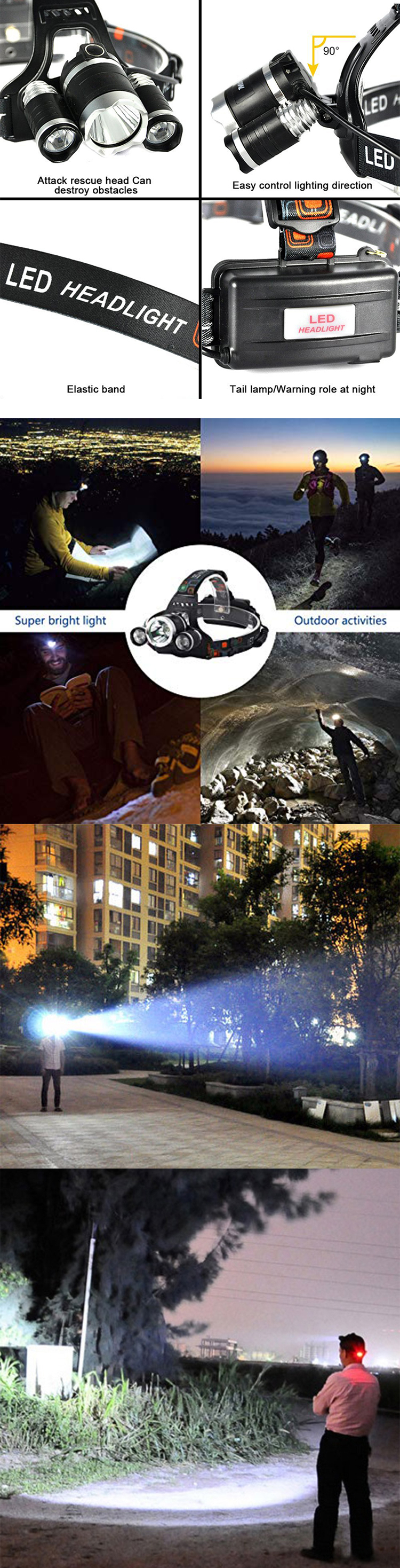 Camping Waterproof Running XML T6 Tactical Hunting 18650 Rechargeable High Power miner cave headlamp