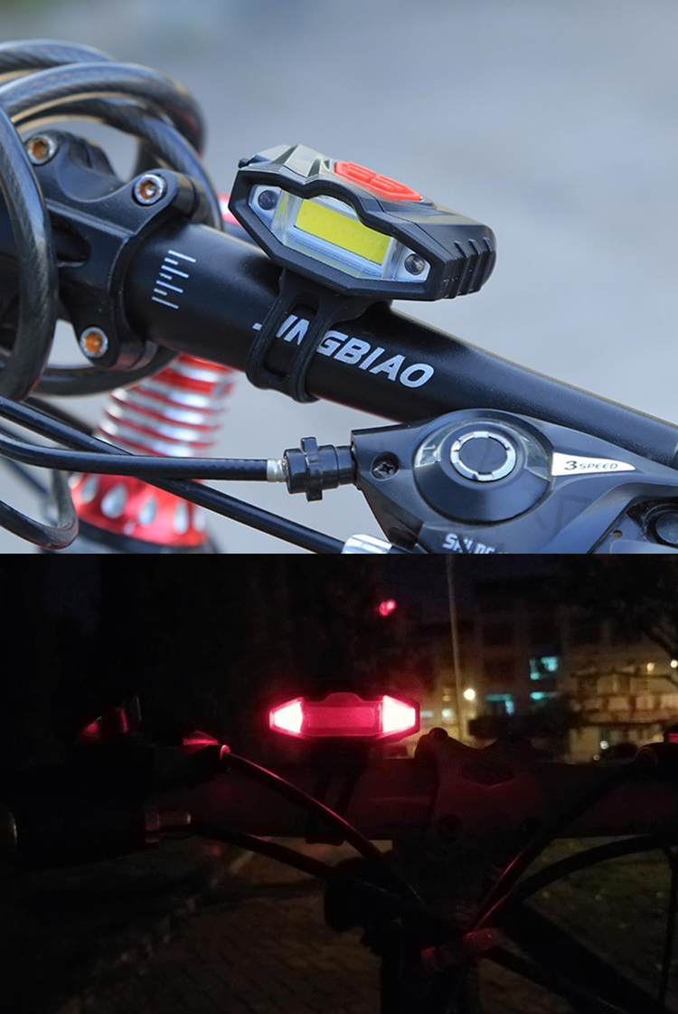 Bike Head Light Waterproof USB Rechargeable Safety Warning  Bicycle Front Lamp
